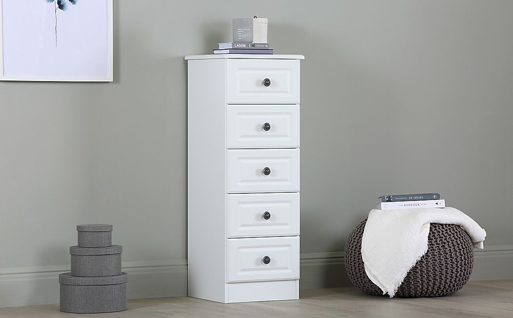 Pembroke White 5 Drawer Narrow Chest Of Drawers