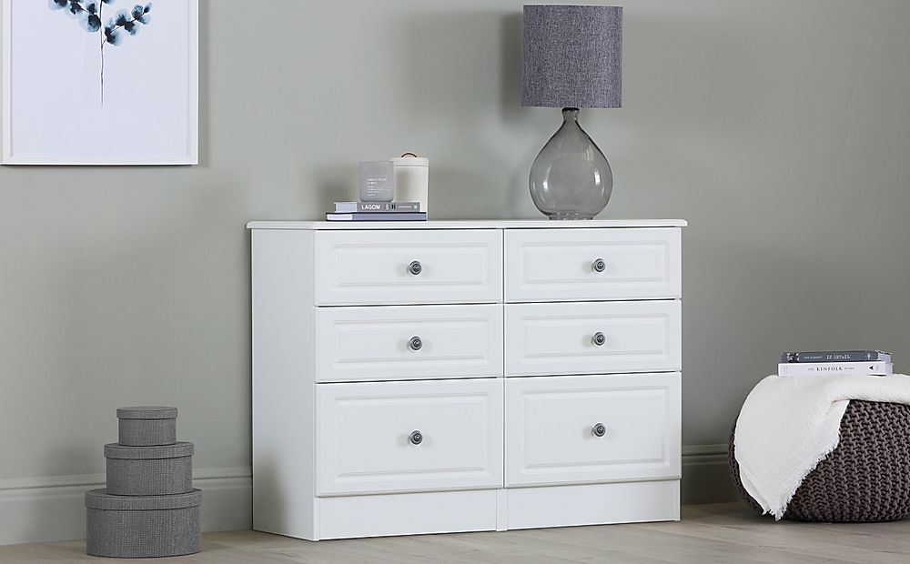 Pembroke White Midi Chest Of Drawers 6 Drawer
