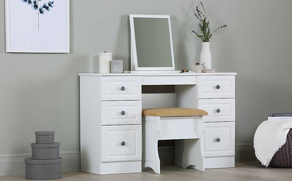 Pembroke White Double Pedestal 6 Drawer Dressing Table