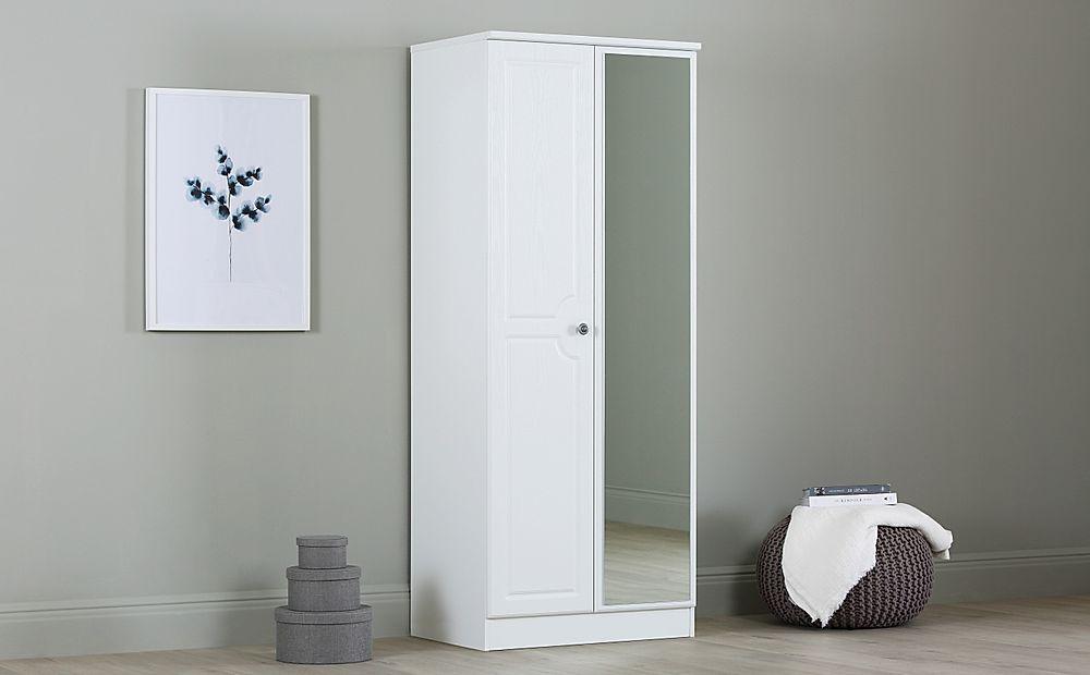 Pembroke White 2 Door Wardrobe with Mirror