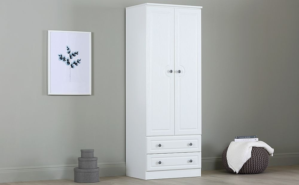 Pembroke White Tall 2 Door 2 Drawer Wardrobe