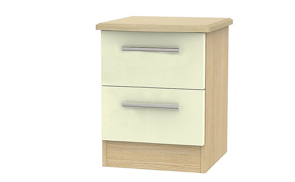 Knightsbridge Cream High Gloss And Oak 2 Drawer Bedside Table
