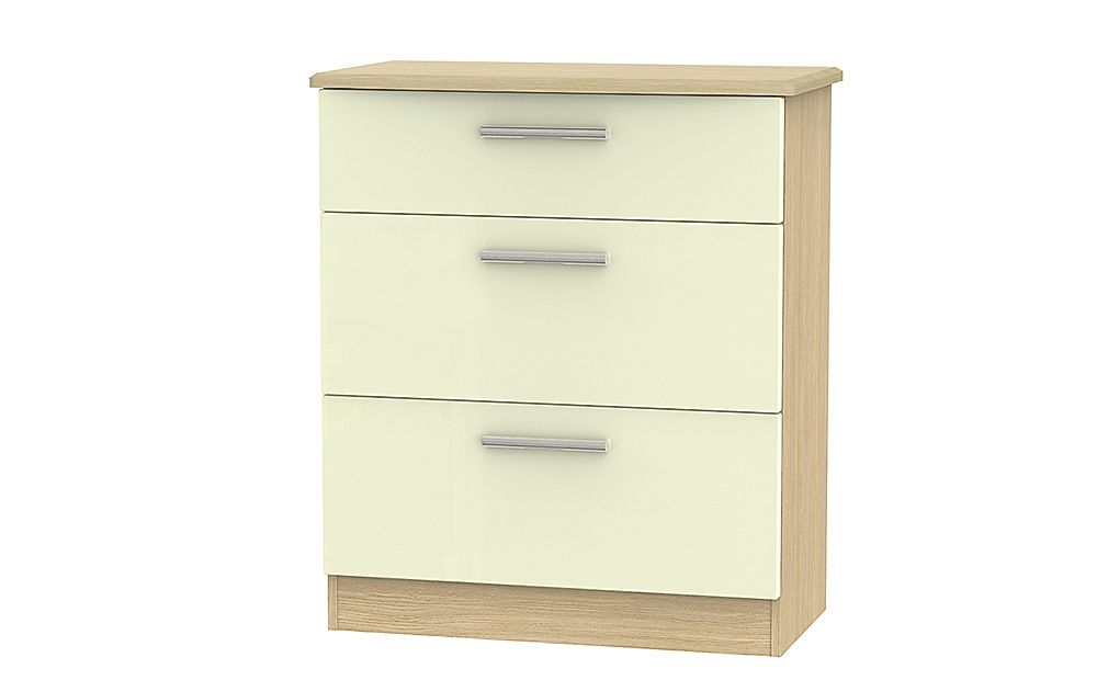 Knightsbridge Cream High Gloss And Oak Deep Chest Of Drawers 3 Drawer