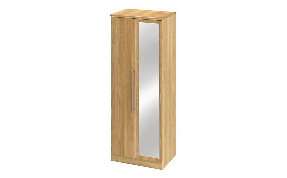 Sherwood Modern Oak Tall Double Mirrored Wardrobe