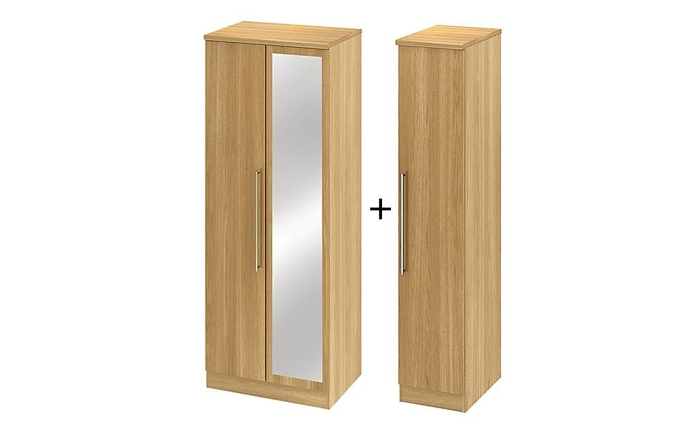 Sherwood Modern Oak Tall 3 Door Wardrobe with Mirror
