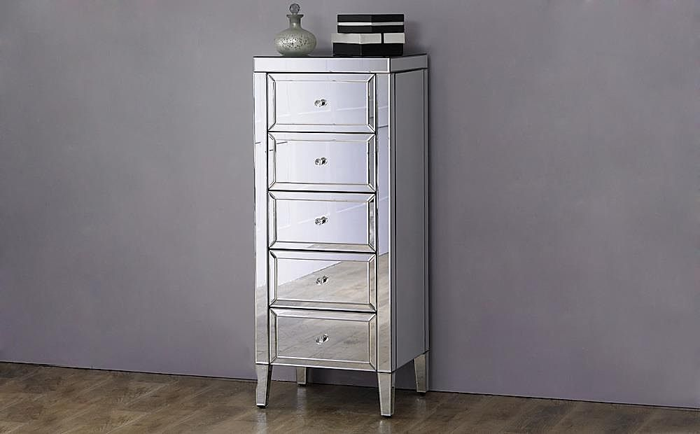 Valencia 5 Drawer Tall Narrow Mirrored Chest of Drawers