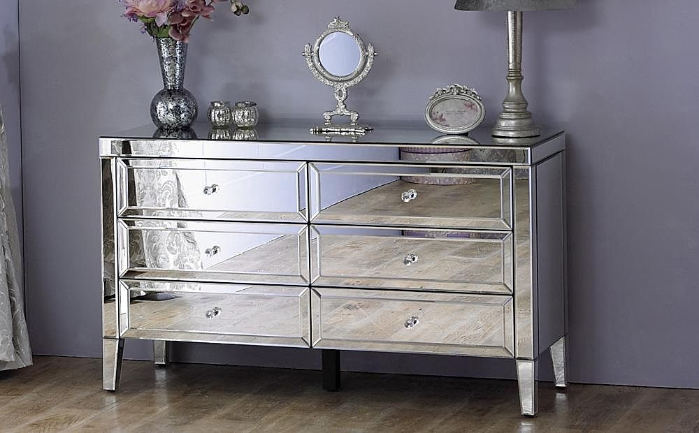 Valencia 6 Drawer Mirrored Chest of Drawers