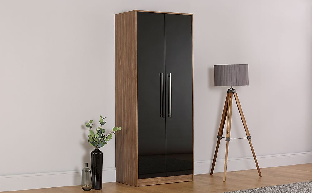 Bloomsbury Walnut & Black High Gloss Wardrobe - 2 Door