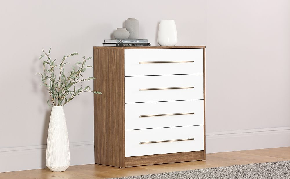Bloomsbury Walnut and White High Gloss 4 Drawer Chest of Drawers