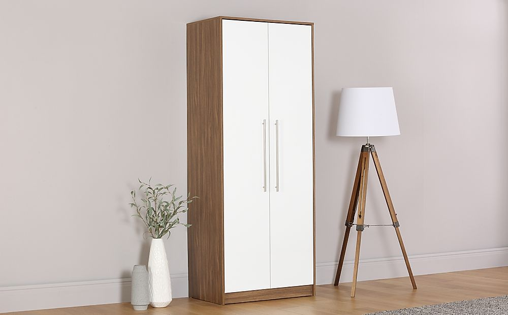 Bloomsbury Walnut & White High Gloss Wardrobe - 2 Door