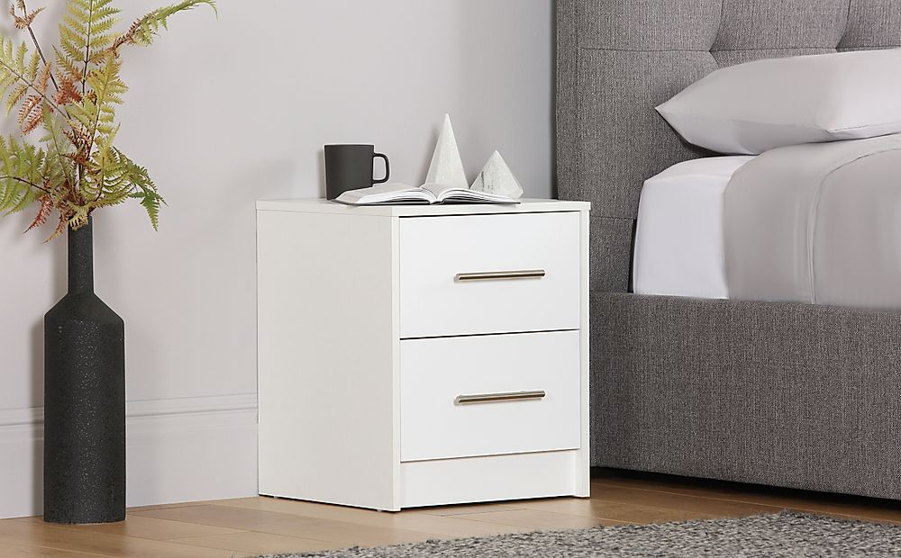 Bloomsbury White and White High Gloss 2 Drawer Bedside Table