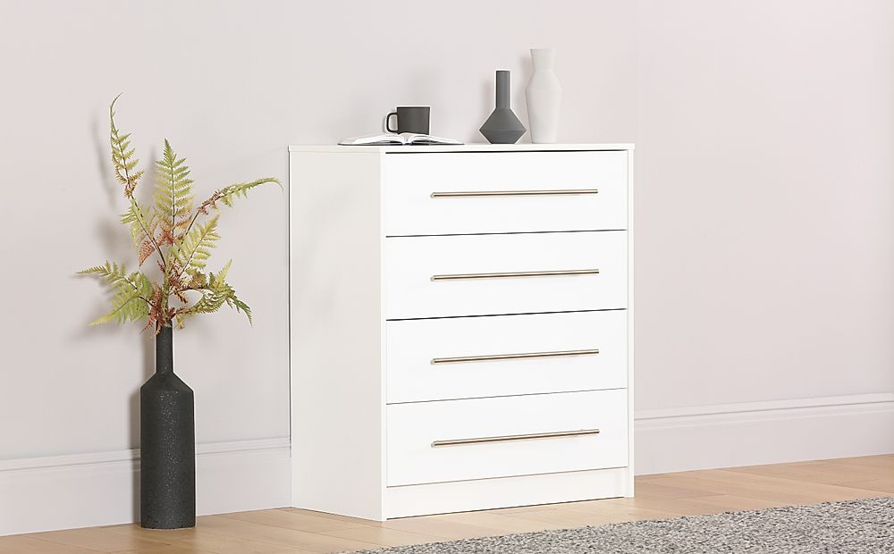 Bloomsbury White and White High Gloss 4 Drawer Chest of Drawers