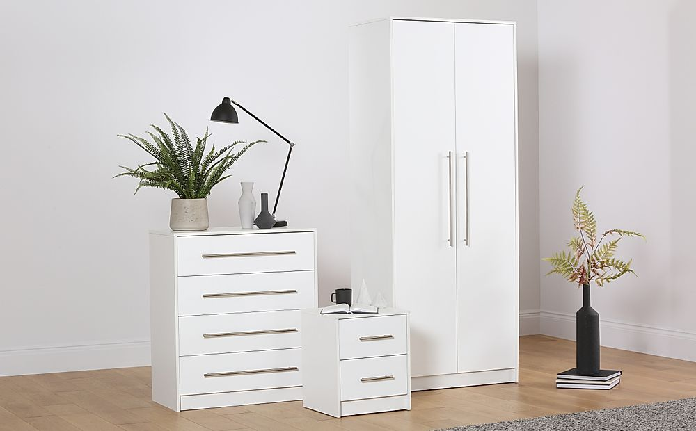 Bloomsbury White and White High Gloss 3 Piece 2 Door Wardrobe Bedroom Furniture Set