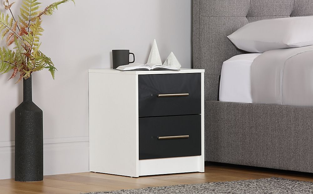 Bloomsbury White and Grey High Gloss 2 Drawer Bedside Table