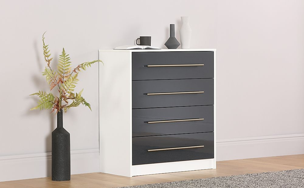 Bloomsbury White & Grey High Gloss Chest of Drawers - 4 Drawers