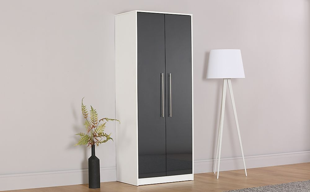 Bloomsbury White & Grey High Gloss Wardrobe - 2 Door