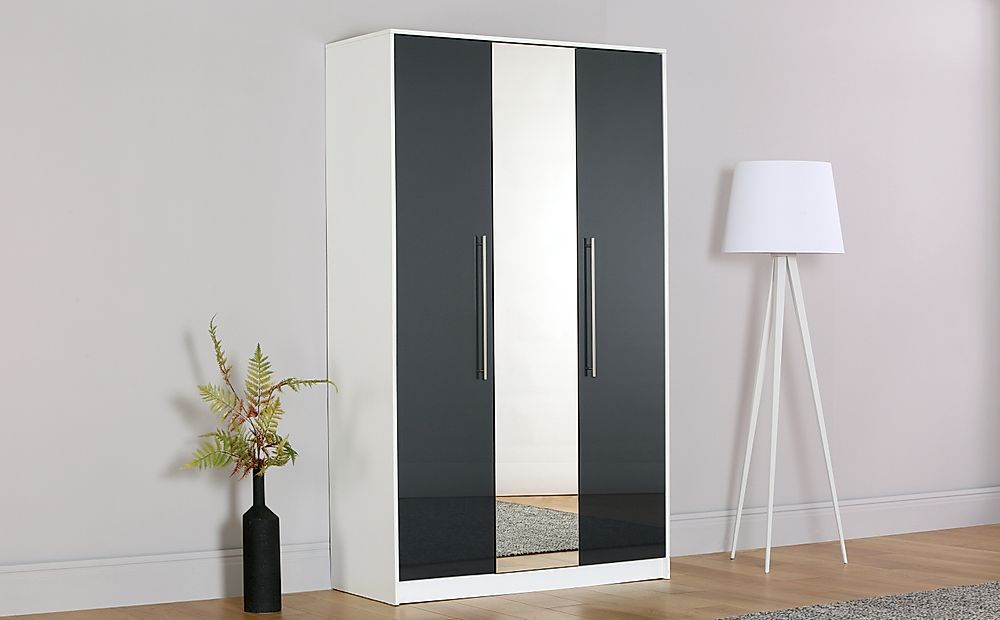 Bloomsbury White & Grey High Gloss Mirrored Wardrobe - 3 Door