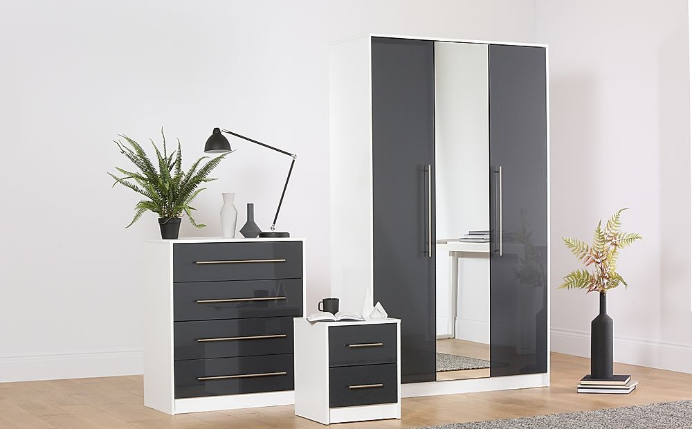 Bloomsbury White & Grey High Gloss 3 Piece 3 Door Wardrobe Bedroom Furniture Set