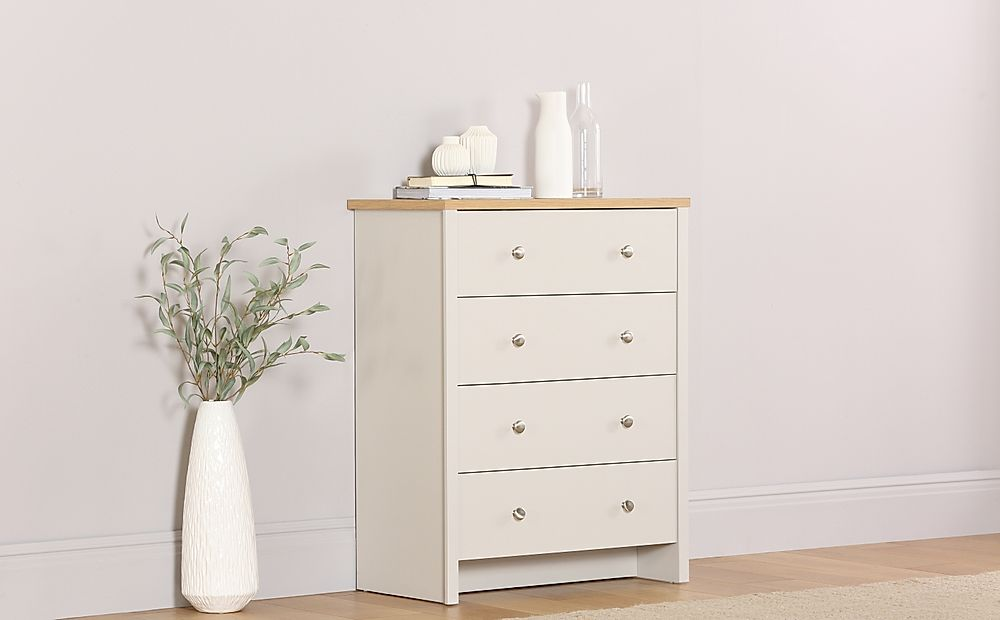Ashworth Putty and Oak 4 Drawer Chest of Drawers