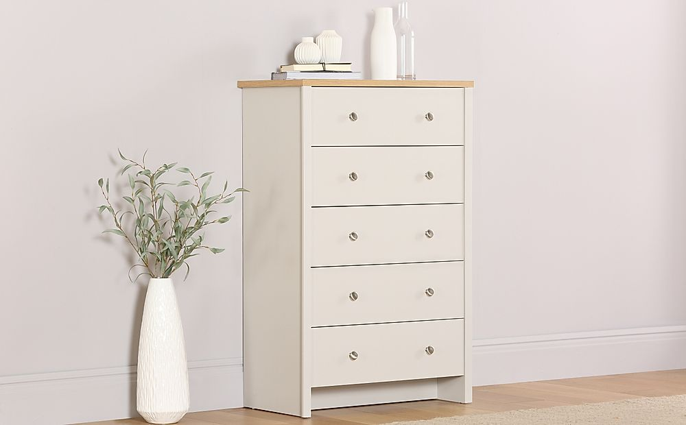 Ashworth Putty and Oak 5 Drawer Chest of Drawers