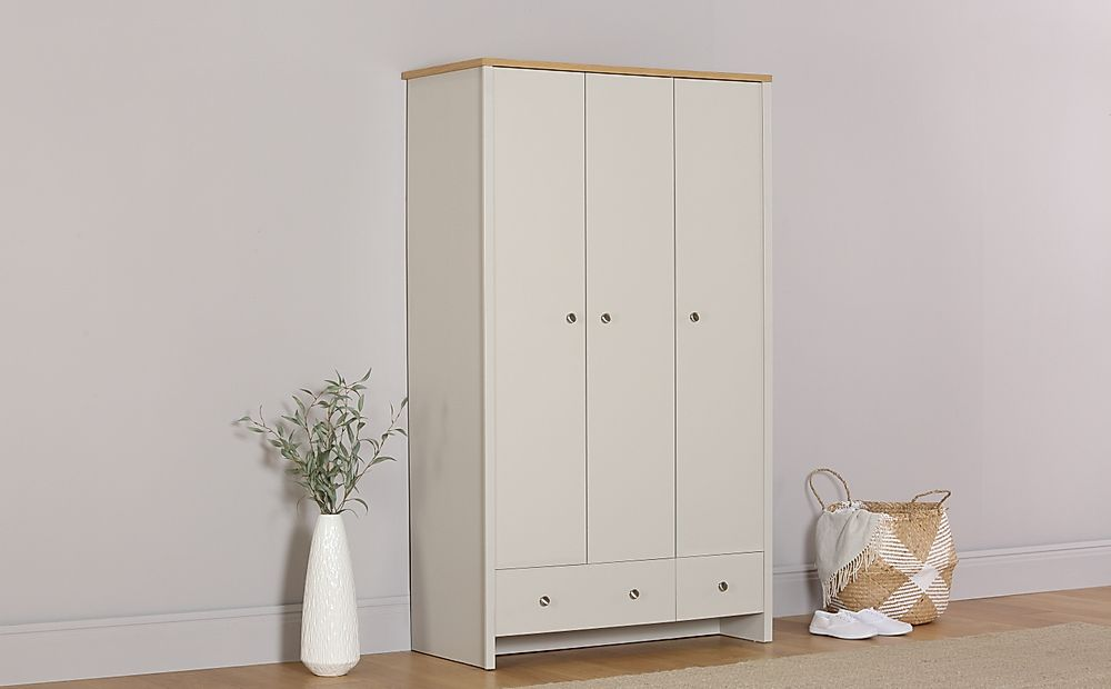 Ashworth Putty & Oak 3 Door 2 Drawer Wardrobe