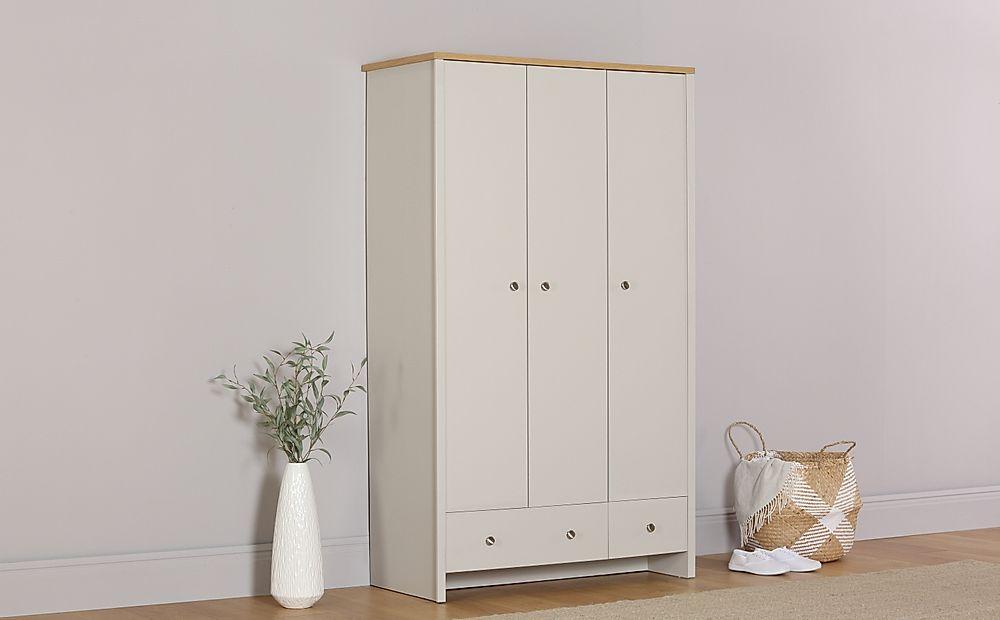 Ashworth Putty & Oak 3 Door 2 Drawer Wardrobe