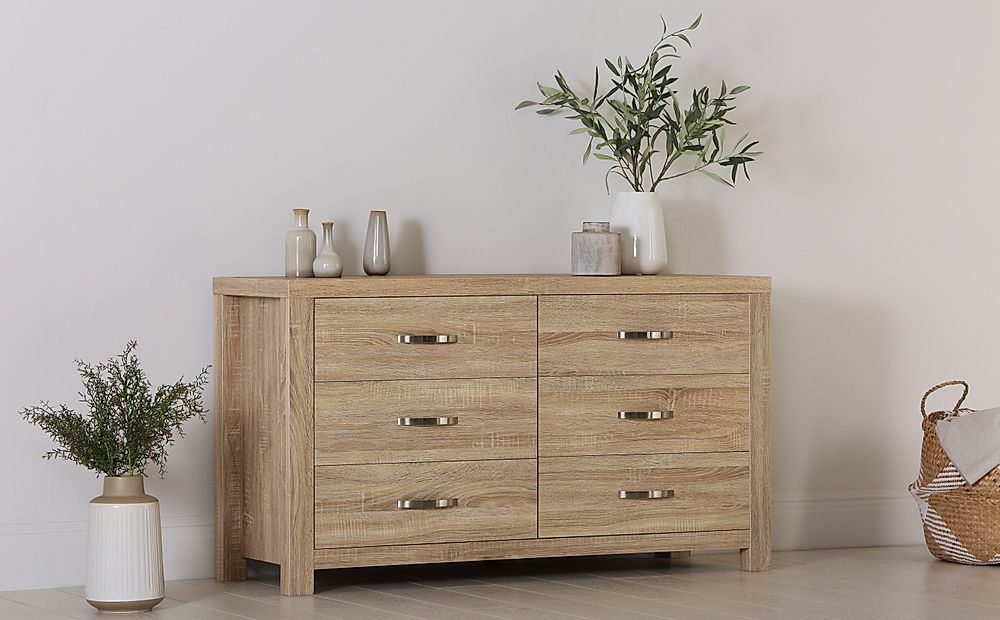 Lindley Sonoma Oak 6 Drawer Chest of Drawers