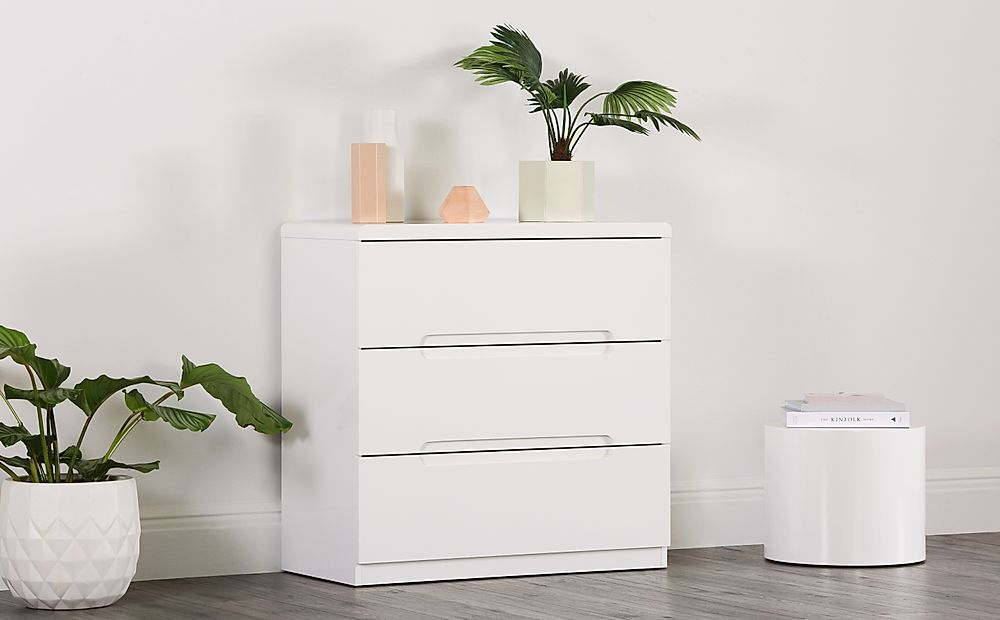 Serene White High Gloss 3 Drawer Chest of Drawers
