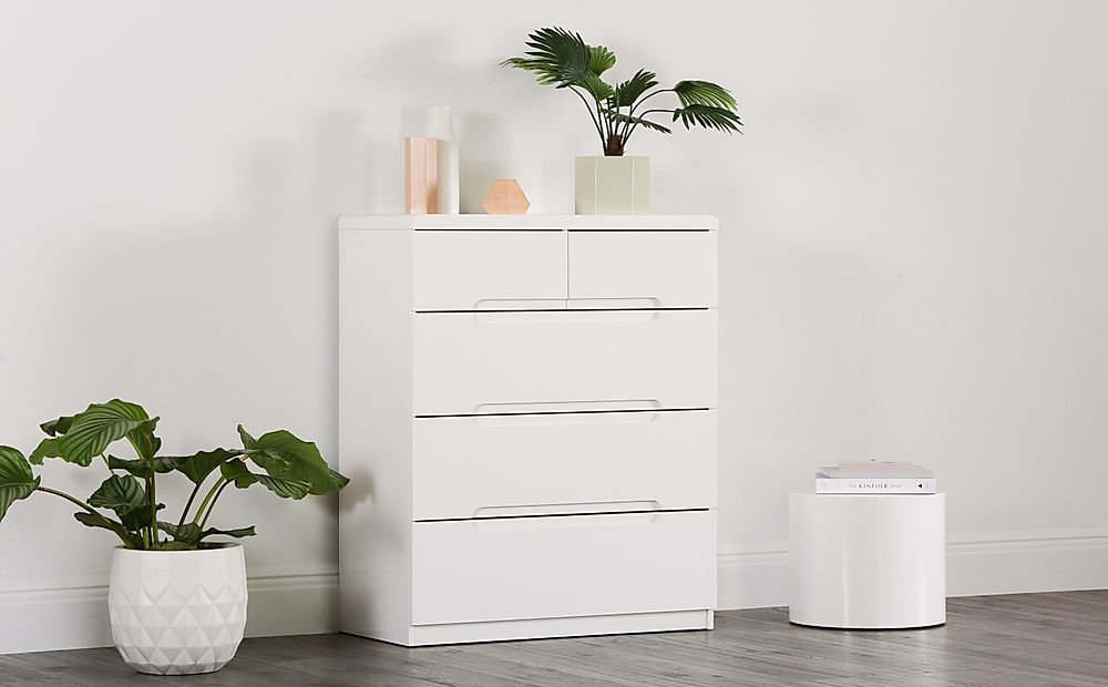 Serene White High Gloss 5 Drawer Chest of Drawers