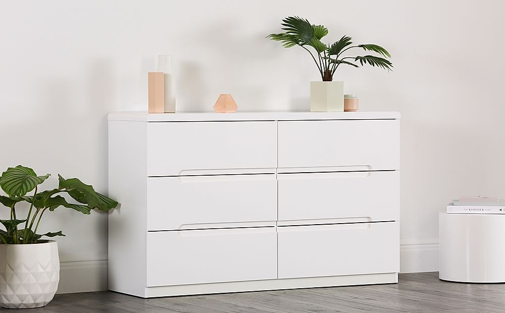 Serene White High Gloss 6 Drawer Chest of Drawers