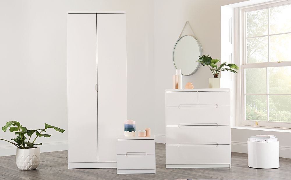 Serene White High Gloss 3 Piece 2 Door Wardrobe Bedroom Furniture Set