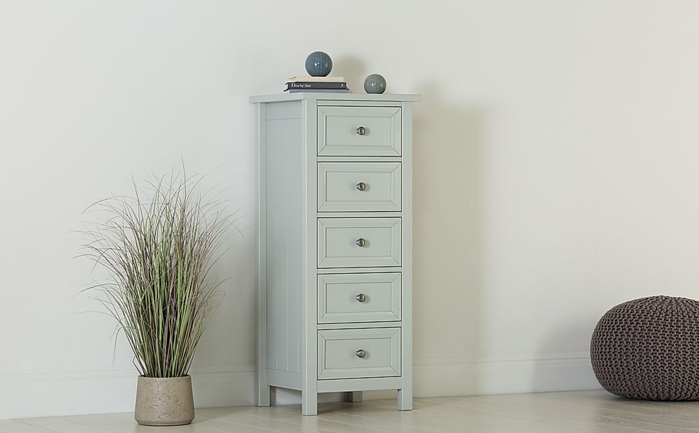 Dorset Dove Grey 5 Drawer Tall Narrow Chest of Drawers