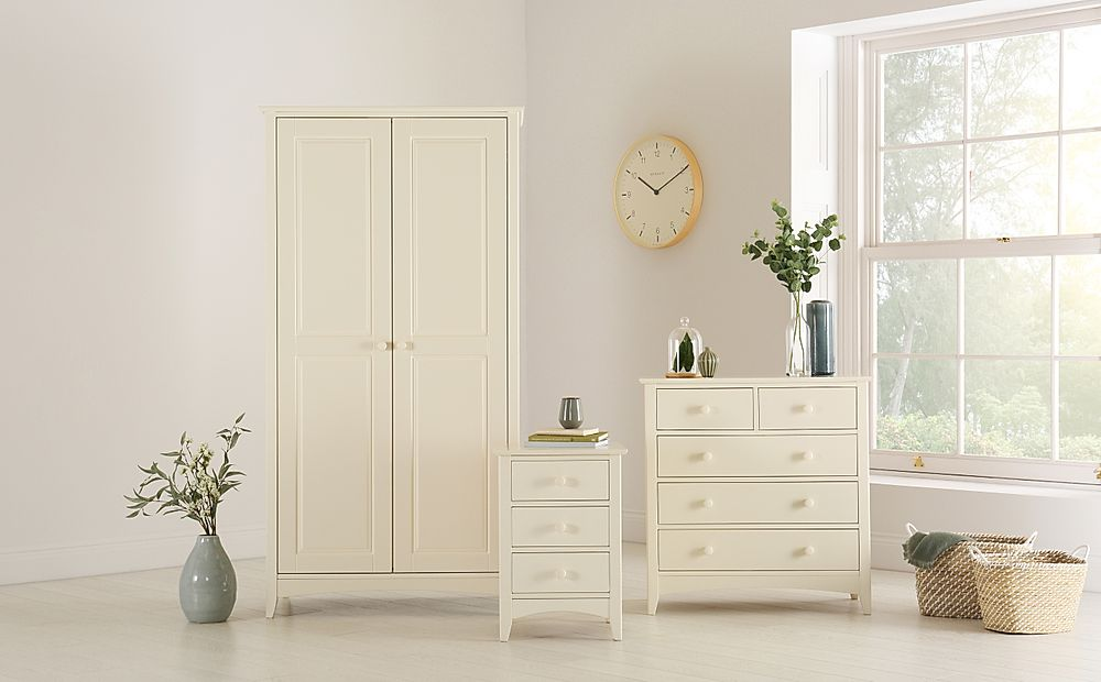 Chatham Stone White 3 Piece 2 Door Wardrobe Bedroom Furniture Set