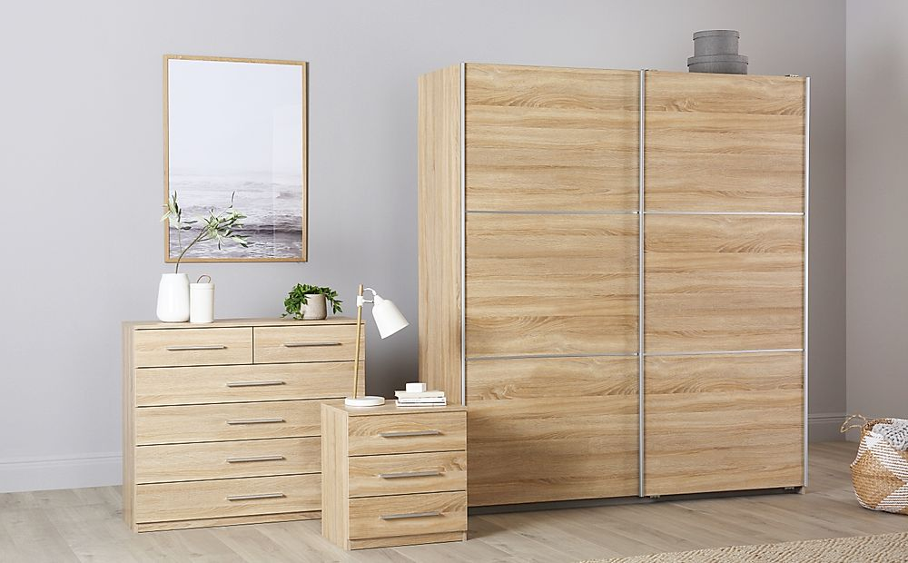 Rauch Palmela Oak 3 Piece 2 Door Sliding Wardrobe Bedroom Furniture Set