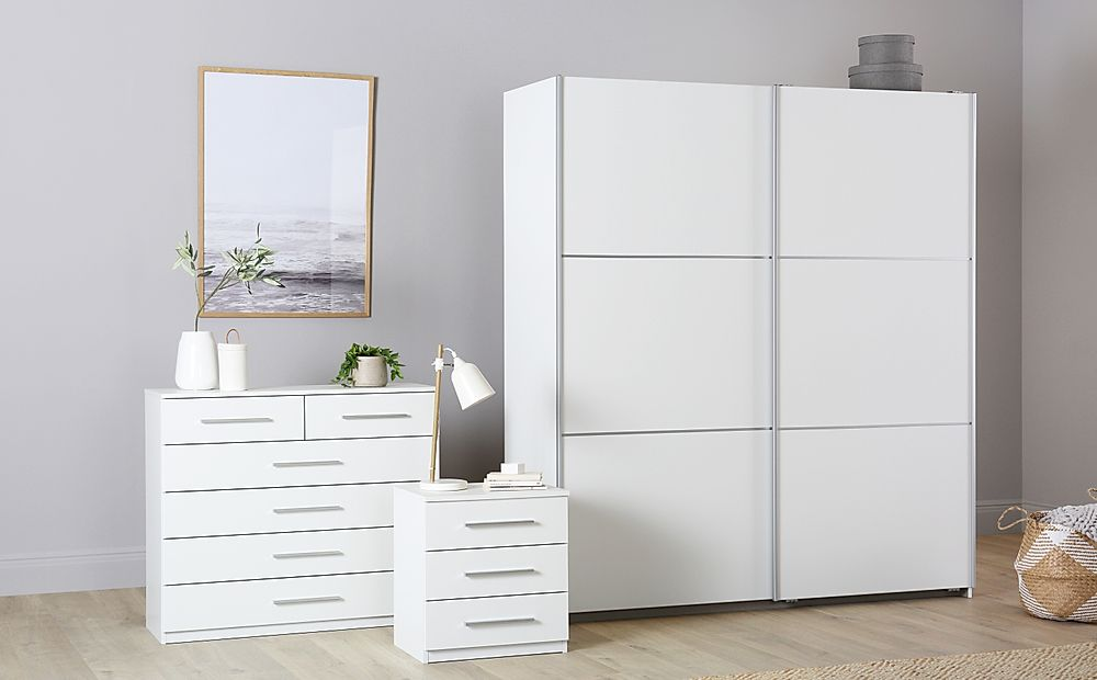 Rauch Palmela White 3 Piece 2 Door Sliding Wardrobe Bedroom Furniture Set
