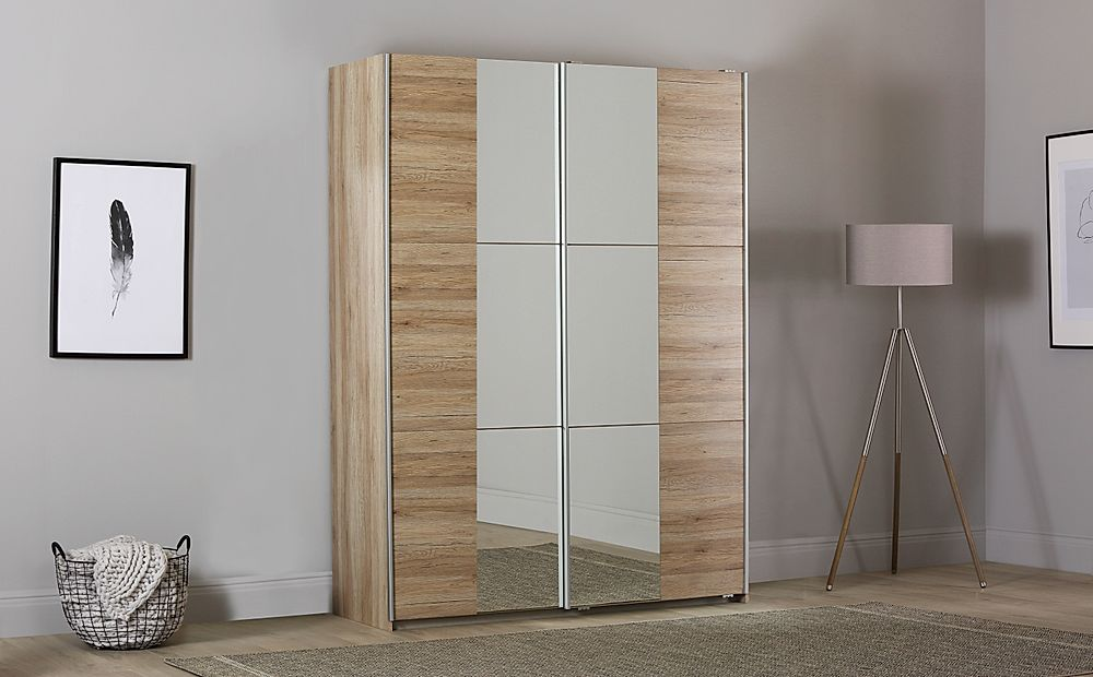 Rauch Fellbach 175cm Light Oak 2 Door Sliding Wardrobe with Mirror