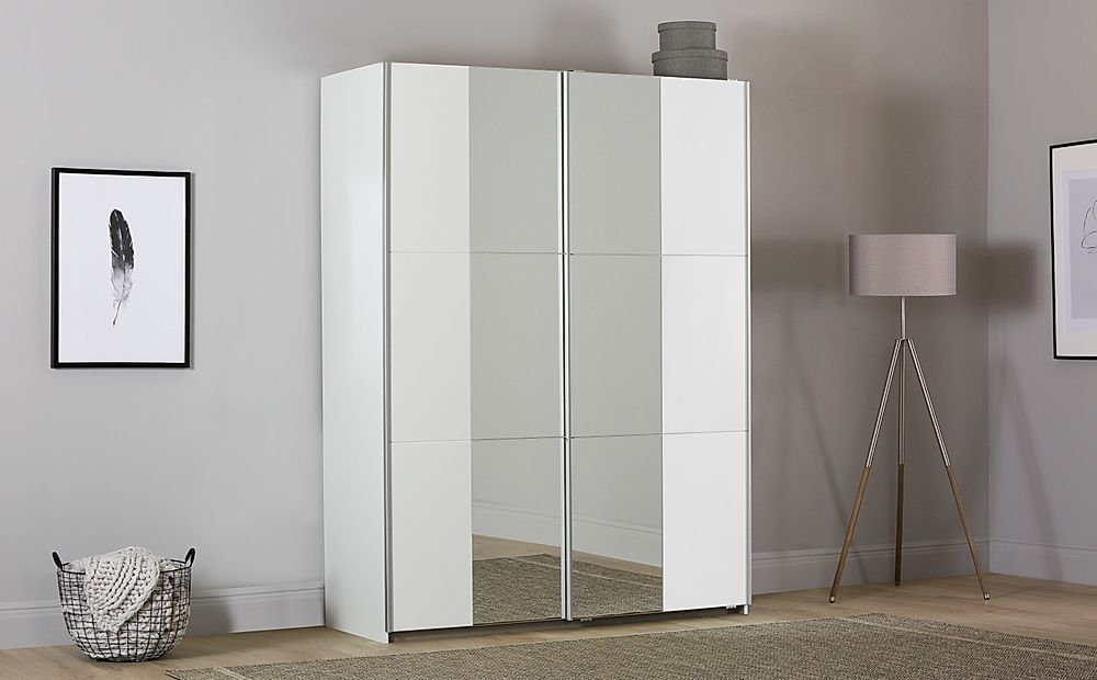 Rauch Fellbach White 2 Door Sliding Wardrobe with Mirror 175cm