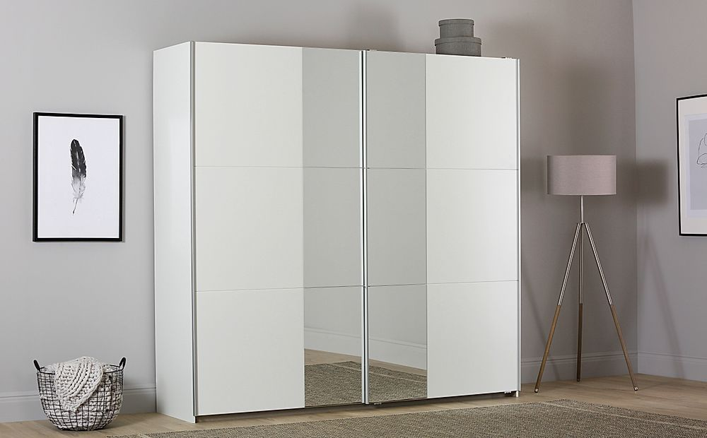 Rauch Fellbach White 2 Door Sliding Wardrobe with Mirror 218cm