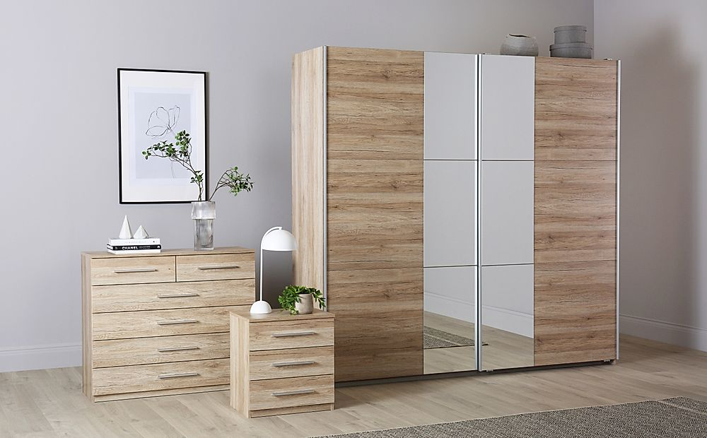 Rauch Fellbach Light Oak 3 Piece 2 Door Sliding Wardrobe Bedroom Furniture Set 218cm