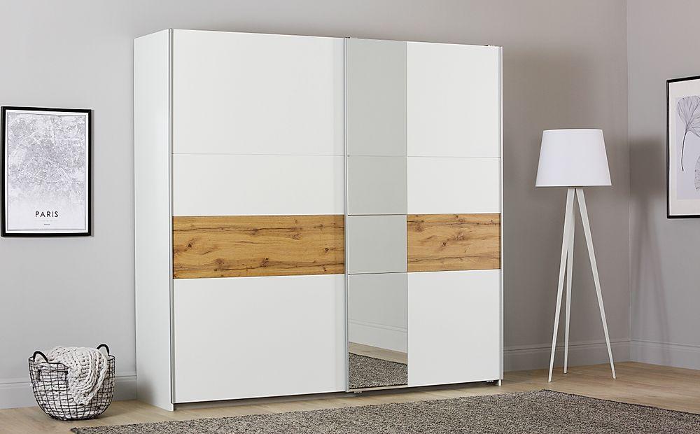 Rauch Korbach White and Oak 2 Door Sliding Wardrobe with Mirror 218cm