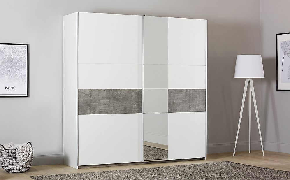 Rauch Korbach White and Stone Grey 2 Door Sliding Wardrobe with Mirror 218cm