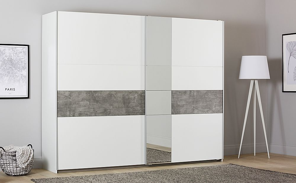 Rauch Korbach 261cm White and Stone Grey 2 Door Sliding Wardrobe with Mirror