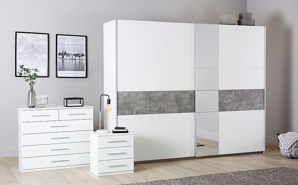 Rauch Korbach White and Stone Grey 3 Piece 2 Door Sliding Wardrobe Bedroom Furniture Set 261cm
