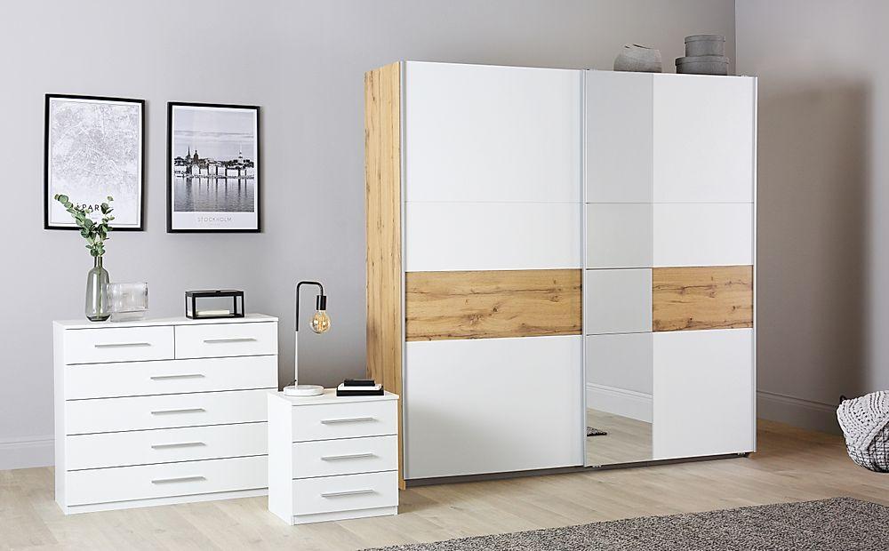 Rauch Korbach Oak and White 3 Piece 2 Door Sliding Wardrobe Bedroom Furniture Set 218cm