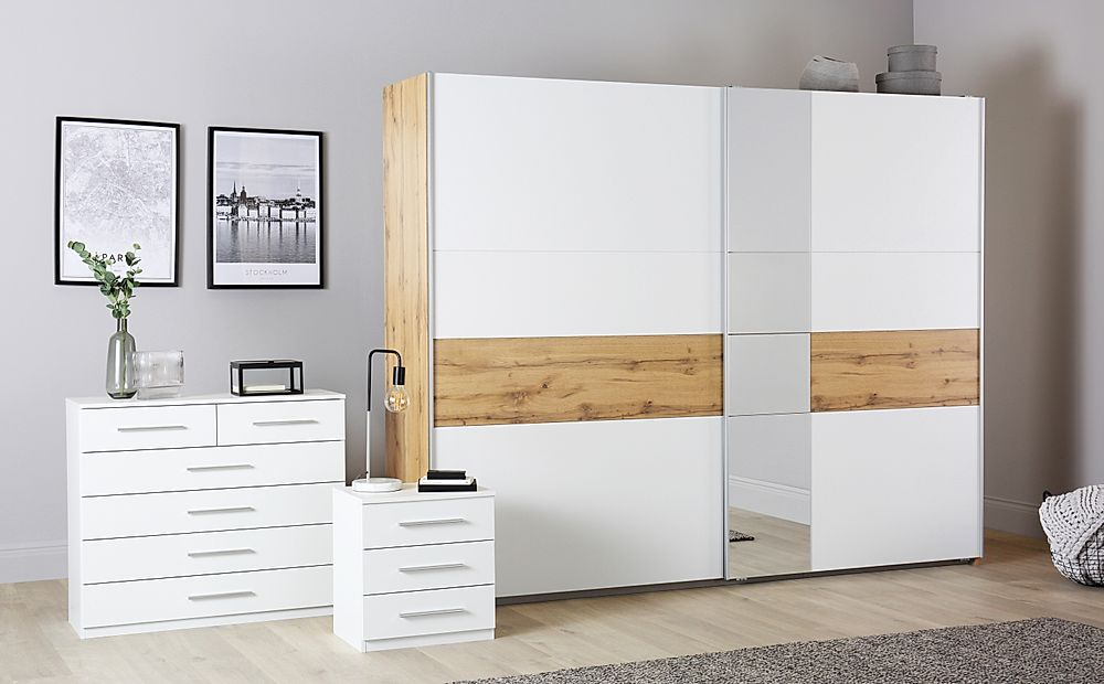 Rauch Korbach Oak and White 3 Piece 2 Door Sliding Wardrobe Bedroom Furniture Set 261cm