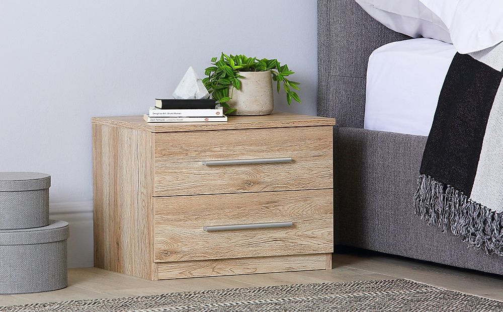 Rauch Vereno Light Oak 2 Drawer Bedside Table