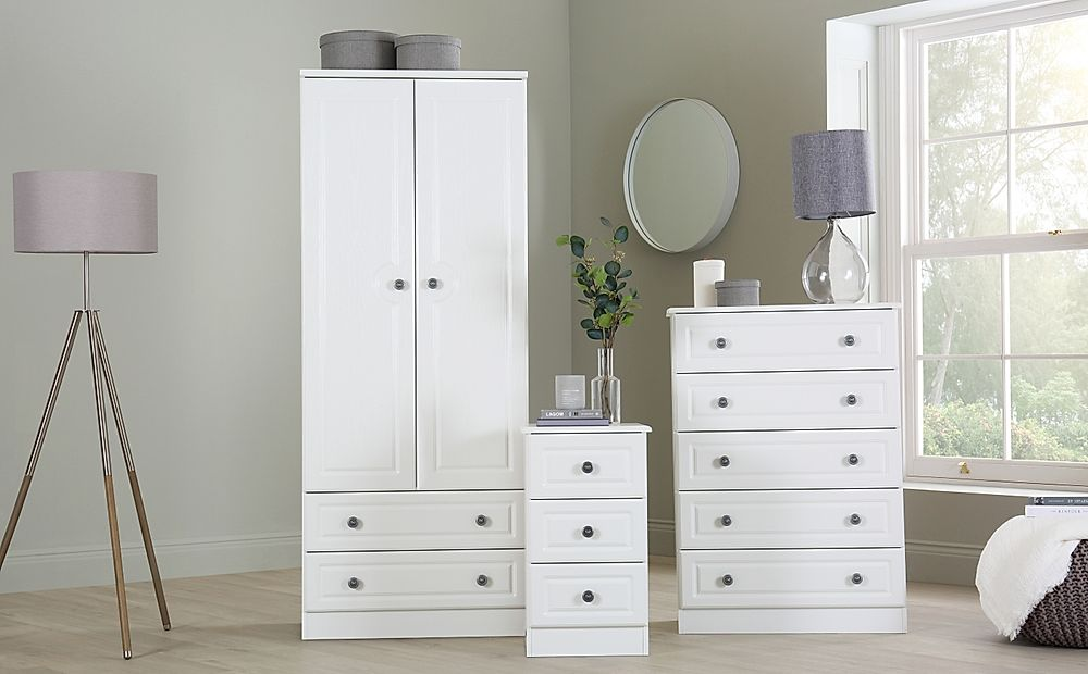 Pembroke White 3 Piece 2 Door Wardrobe Bedroom Furniture Set