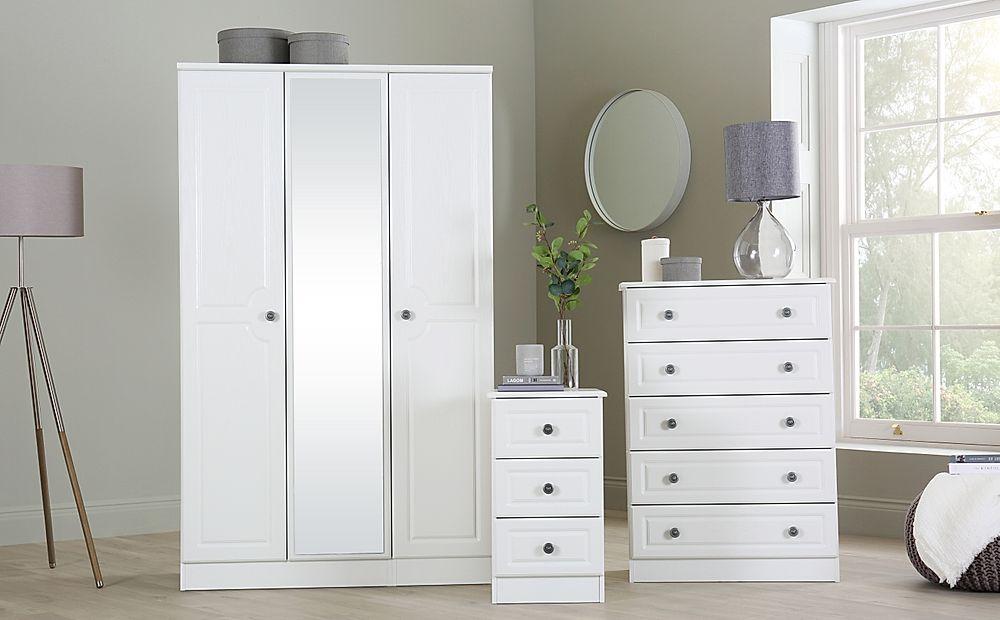 Pembroke White 3 Piece 3 Door Wardrobe Bedroom Furniture Set