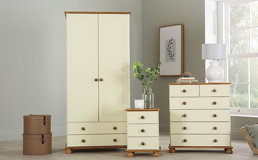Evesham Cream & Pine 3 Piece 2 Door Wardrobe Bedroom Furniture Set
