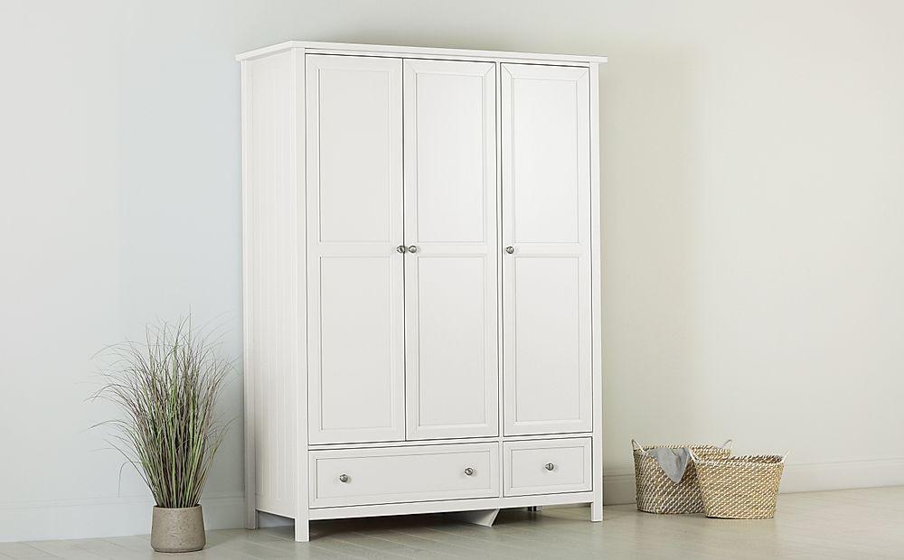 Dorset White 3 Door 2 Drawer Wardrobe